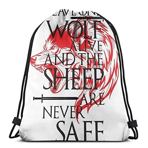 IUBBKI Deje un Lobo Vivo y Las ovejas Nunca estarán a Salvo. House Stark Drawstring Bag Sports Ness Bag Bolsa de Viaje Bolsa de Regalo