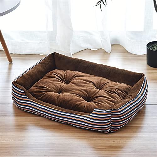 LZYMLG Cama para perro, cálida y suave, cómoda cama para mascotas, sofá de 90 cm, para perros grandes, medianos, gatos, mascotas pequeñas, impresión marrón