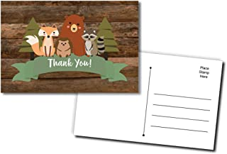 50 Thank You Postcards Cute Rustic Woodland Forest Animals Baby Shower - Baby Shower - Birthday