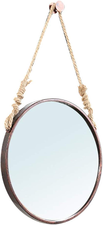 Bedroom Wall Hanging Mirror European Style Simple Wrought Iron Mirror with Lanyard Bathroom Mirror