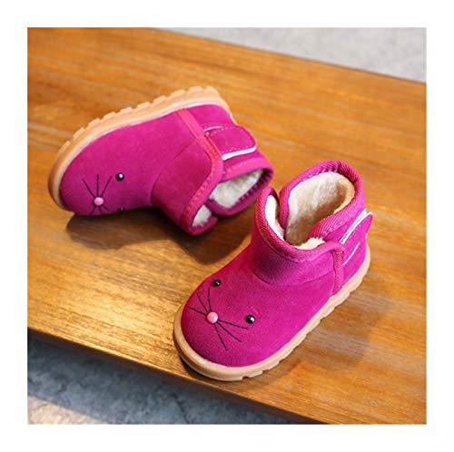 Youpin 2021 invierno nuevo niños dibujos animados botas niñas nieve niños zapatos de algodón más terciopelo bebé botas rosa marrón rojo (color: rojo rosa, talla del zapato: 8)