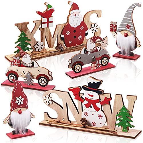 6 Piezas Letreros de Mesa de Madera de Navidad Cartel de Mesa de Papá Noel...