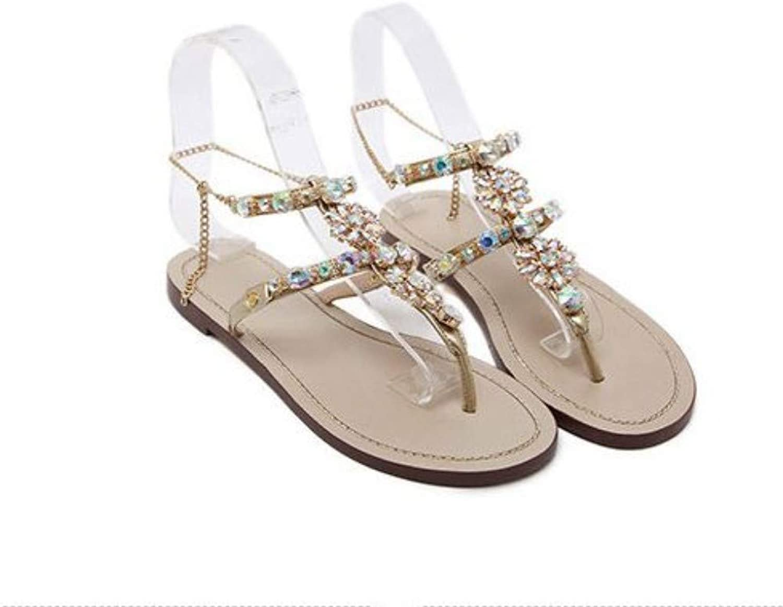 JQfashion Ladies Sandals Flat Soles Roman shoes Diamond Nailed Beads Beach shoes Slippers