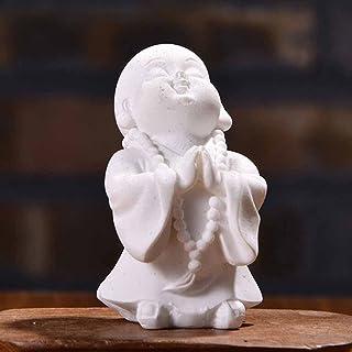 ZLBYB Maitreya Buddha Statuettes Cute Monk Statue Sandstone Crafts Lovely Figurine Ornament Home Decor Gift Handcraft (Col...