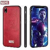 FASTER iPhone XR Hülle Marvel Avengers Ledertaschen 3D Prämie Kratzfest Schutzhülle (Rot Iron Man)