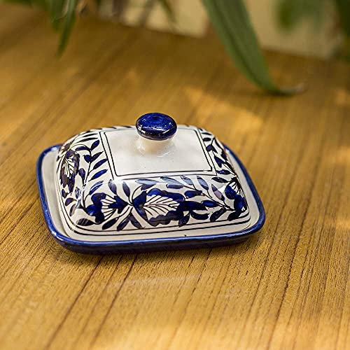 Craftghar Handmade Ceramic Butter Box Dish with Lid Blue Pottery for Dinning and Kitchen, Blue Suitable for 100 Grams Butter Dish Serving Set