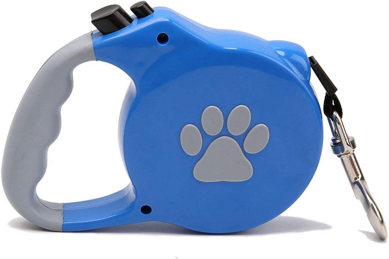 Pet retrattable Dog Leash for Medium Large One Button Break Lock Hands Free Flat Ribbon Blue Pattern Traction Rope Training Walking 5M