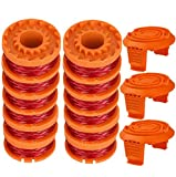 TOPEMAI WA0010 Replacement Trimmer Spool Line 0.065 for Worx WG154 WG163 WG160 WG180 WG175 WG155 WG151 String Trimmer (12 Spools + 3 Caps)