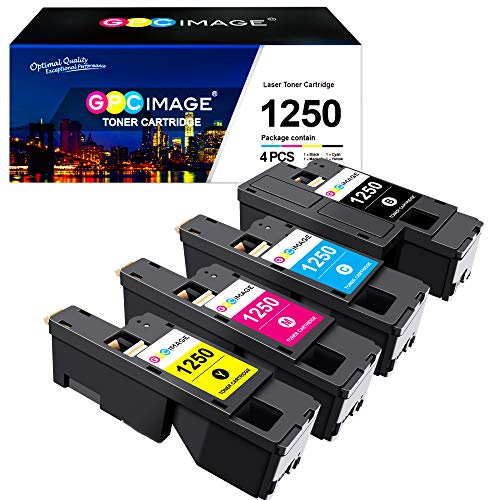 GPC Image 1250C Toner Cartridges Replacement for Dell 1250 1250C 1350cnw 1355cn 1355cnw C1760 C1760nw C1765 C1765nf C1765nfw 593-11016 593-11021 593-11018 593-11019 Printer (Black/Cyan/Magenta/Yellow)