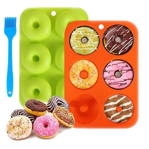 Moldes de silicona para donas, 6 cavidades con cepillo, antiadherentes para donuts de grado alimenticio para hornear, donuts Pan, bagels, pasteles, 2 unidades, naranja y verde
