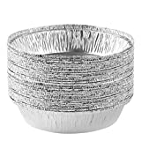Plasticpro 7'' Inch Round Tin Foil Pans Disposable Aluminum, Freezer & Oven Safe - For Baking, Cooking, Storage, Roasting, & Reheating, Pack of 20