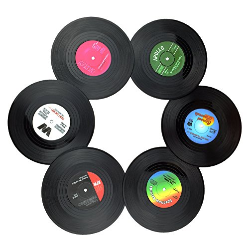 Txian 6 Retro Vinyl LP Schallplatten Stil Untersetzer Tasse Matte rutschfeste Isolierte Kaffee Getränke Matte