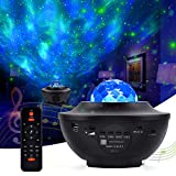 Piaozoo Star Night Light Projector with Music, 2 in 1 Star Night Light Lamp and Ocean Wave Projector with Bluetooth Speaker and Remote Control for Kids Adults Bedroom Party Home Theatre Decoration