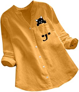 DUe Women's Over Sized Fashion Linen Printed Long Sleeve Splicing Top Blouse