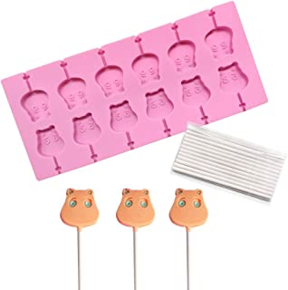 AK ART KITCHENWARE Cat Lollipop Molds 12-Capacity Chocolate Hard Candy Silicone Mold With 25Pcs/Pack Lolly Sticks