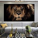 Yooyu Afrikanische große Löwen Gesicht Leinwand Gemälde an der Wand Kunst Poster und Drucke Tiere Löwen Kunst Bilder für Wohnzimmer 70x140cm Rahmenlos