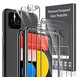 LK Compatible con Google Pixel 5 Protector de Pantalla,3 Pack Cristal Templado y 3 Pack Protector de Lente de cámara, Doble protección, Kit de Instalación Incluido