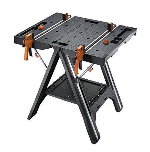 Worx WX051 Pegasus, multifunción, mesa de trabajo y caballete con rápidas abrazaderas y pinzas de sujeción, negro