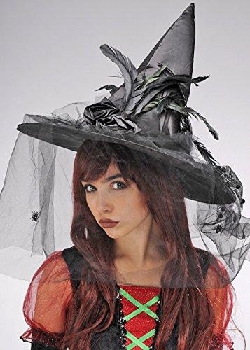 Chapeau de sorcière pour adulte plume noire Deluxe