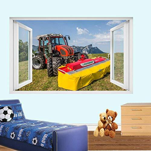 Maquinaria agrícola Tractor pegatinas de pared mural de arte 3d decoración de tienda de oficina en casa