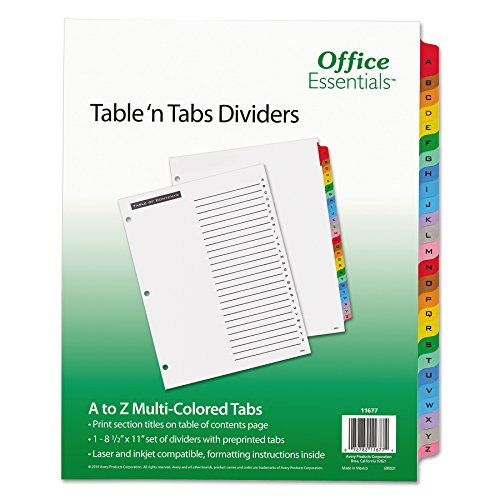 Office Essentials 11677 Table 'n Tabs Dividers, 26-Tab, Letter