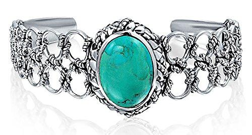 Navajo Stil Oval Cabochon Stabilisiert Türkis Manschette Armreif Für Damen Seil Lattice Kettenglied Sterling Silber