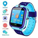 Smartwatch Niños Reloj Inteligente para Niños LBS Tracker Pantalla Táctil Llamada SOS Juguete de Regalo de Cumpleaños para Niño Niña Azul S9