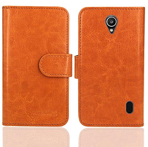 Huawei Y635 Handy Tasche, FoneExpert® Wallet Hülle Flip Cover Hüllen Etui Ledertasche Lederhülle Premium Schutzhülle für Huawei Y635 (Wallet Orange)