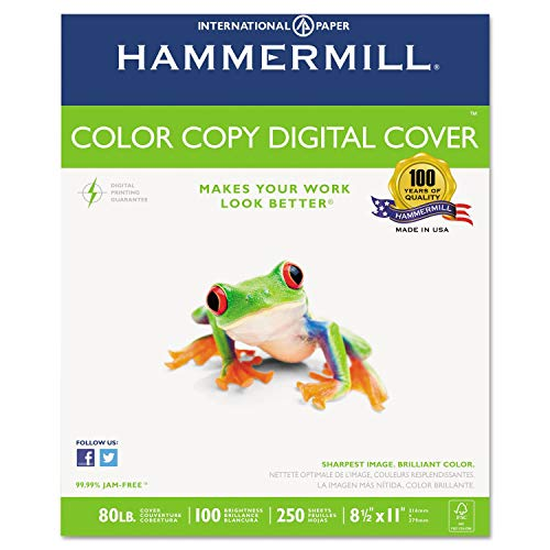 commercial Hammermill Premium Cardstock Color Copy Cover 80lb 8.5 x 11, 1 pack, 250 sheets, Made in USA,… laser printer cardstock