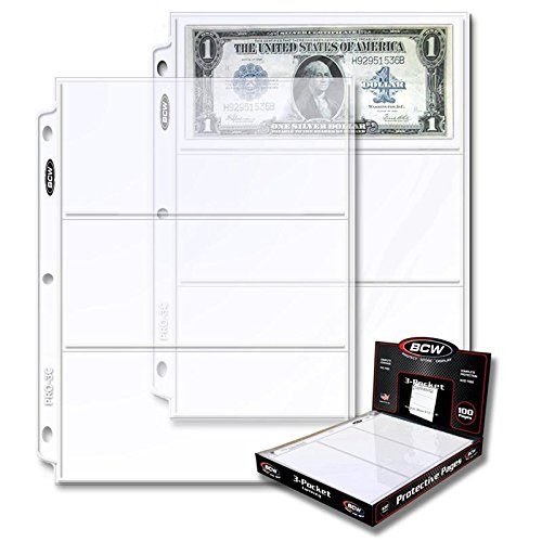 200 BCW Pro 3 Pocket Currency Pages ~ 2 BOXES
