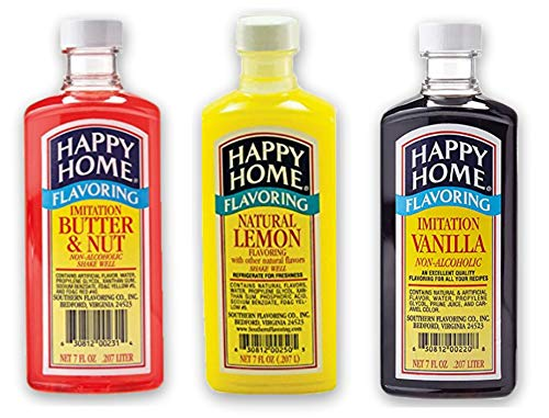 Happy Home Imitation Flavoring Variety Pack - [1] Vanilla Extract for Baking [1] Lemon [1] Butter & Nut - [7 oz Each] - Alcohol Free - Makes Delicious Cookies, Pound Cake, Waffles, Syrup, and More