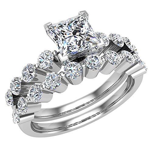 Anello da sposa in oro bianco 18 carati con montatura a corona condivisa da 1,50 carati