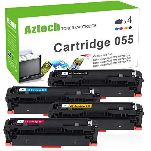 Price comparison product image Aztech Compatible Toner Cartridge Replacement for Canon 055 055H Toner Cartridge 055 for Canon Color Imageclass MF743Cdw MF741Cdw MF745Cdw LBP664Cdw MF741 MF743 (Black Cyan Yellow Magenta,  4-Pack)