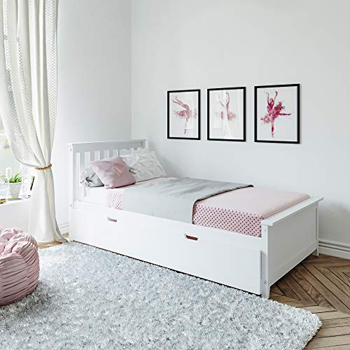 Max & Lily Solid Wood Twin-Size Bed with Trundle Bed, White