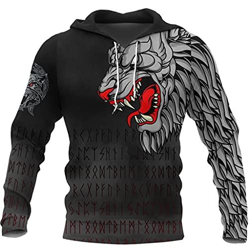 Sudadera con Capucha Vikinga para Hombre, Gráfico del Tatuaje del Lobo Fenrir de la Mitología Nórdica de Impresión 3D, Streetwear Atlético Casual,Hoodie,3XL
