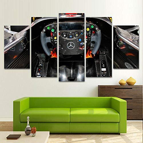 199Tdfc 5Pcs Piy Cuadros Sobre El Lienzo Lienzo Estampados Imprimir - Interior De La Cabina Del Mercedes Fórmula Uno F1 - Pintura A Prueba De Agua Para Dormitori Decoración Regalo XXL 200X100CM