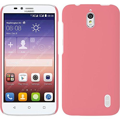 PhoneNatic Case kompatibel mit Huawei Y625 - Hülle rosa gummiert Hard-case + 2 Schutzfolien