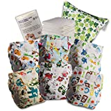 Littles & Bloomz Baby Reusable Nappy Cloth Pocket Diaper, Standard Hook and Loop, 6 Nappies + 6 Inserts, 1 Disposable Bamboo Liner, 1 Wet Nappy Bag, 608VM6