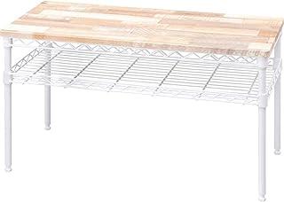 アイリスオーヤマ テーブル 収納付き ノートパソコンも置ける 木目調 おしゃれ テレワーク推奨 カラーメタルラック 幅76×奥行36㎝ CMM-T76362 ホワイト