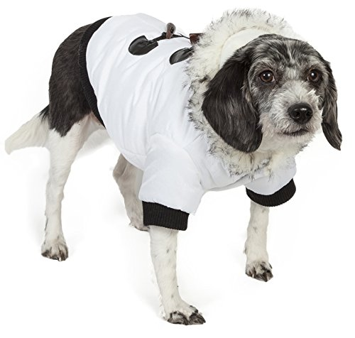PET LIFE Fashion Designer Aspen Winter-White Parka Pet Dog Coat Jacket w/ 3M Insulation Technology, X-Small, Winter White
