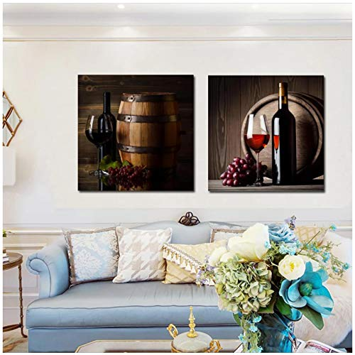 un known Poster Bilder Posters and Prints Wall Art Canvas Painting Grape Wine Glasses and Bottles Decorative Paintings for Living Room Decor 11.8x11.8in(30x30cm) x3pcs No Frame