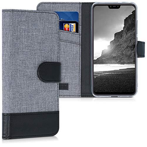 kwmobile Xiaomi Mi 8 Lite Hülle - Kunstleder Wallet Case für Xiaomi Mi 8 Lite mit Kartenfächern & Stand - Grau Schwarz