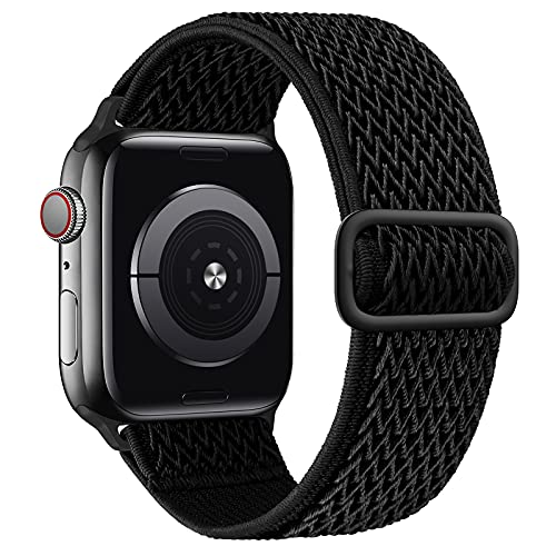 SAMYERLEN Stretchy Solo Loop Bands Compatible with Apple Watch Band 38mm 40mm 42mm 44mm for Men Women Adjustable Weave Elastic Braided Nylon Wristband for iWatch Series 6 5 4 3 2 1 SE (Black-42/44)