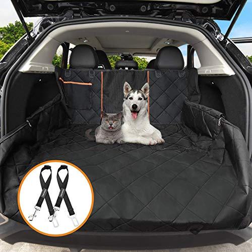 OMORC Hundedecke Autoschondecke, Wasserdichte Hundedecke für Auto Rückbank, 4-Lagigen Rutschfeste Design mit Sicherheitsgurt Sichtfenster für Auto/Van/SUV - 4