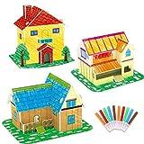 CaCaCook Juego de Rompecabezas para Colorear en 3D Juguete para Pintar Casa de Juguetes para Manualidades Juguetes Educativos para Niños Juguetes Coloridos para Niños Pintados a Mano Ensamblados