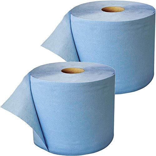 2 x blaue saugstarke Papierrolle, 1000 Blatt, 38x36 cm   3-lagige perforierte Papiertücher   Putztuchrolle für Industrie, Werkstatt, Baustelle und Haushalt
