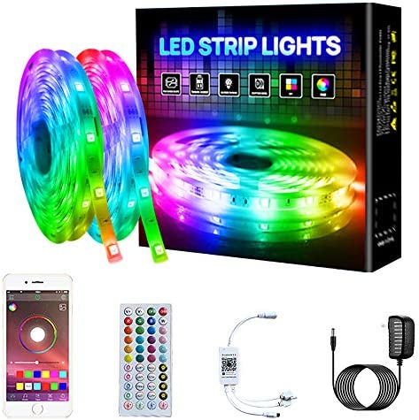Pretmess RGB Led Strip Lights 32 8ft Smart Led Strip Color Changing with Bluetooth Controller product image