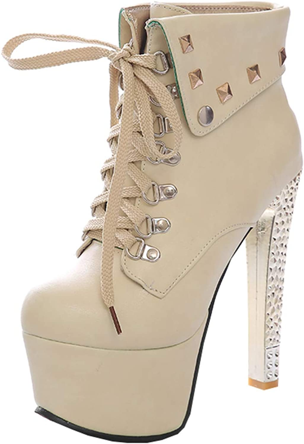 Artfaerie Womens Studded Platform Ankle High Heel Boots Lace Up Booties Ladies Winter Warm shoes