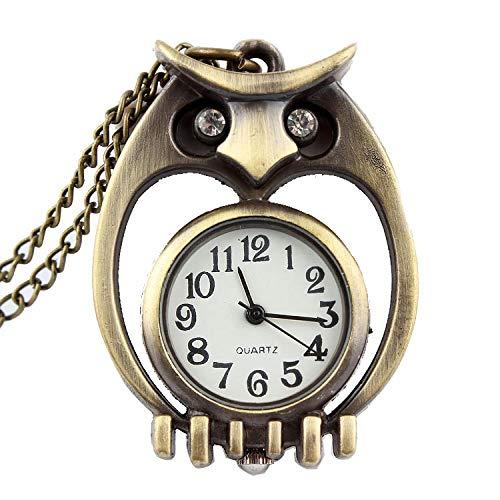 LEYUANA Pequeño Reloj de búho para Mujeres, Hombres, Reloj de Bolsillo de Bronce con Mini pájaro de Cuarzo con Cadena Colgante, Reloj para niños, Plata