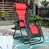 Zero Gravity Chair Padded Recliner Adjustable Lounge Chair with Free Cup Holder (Red)